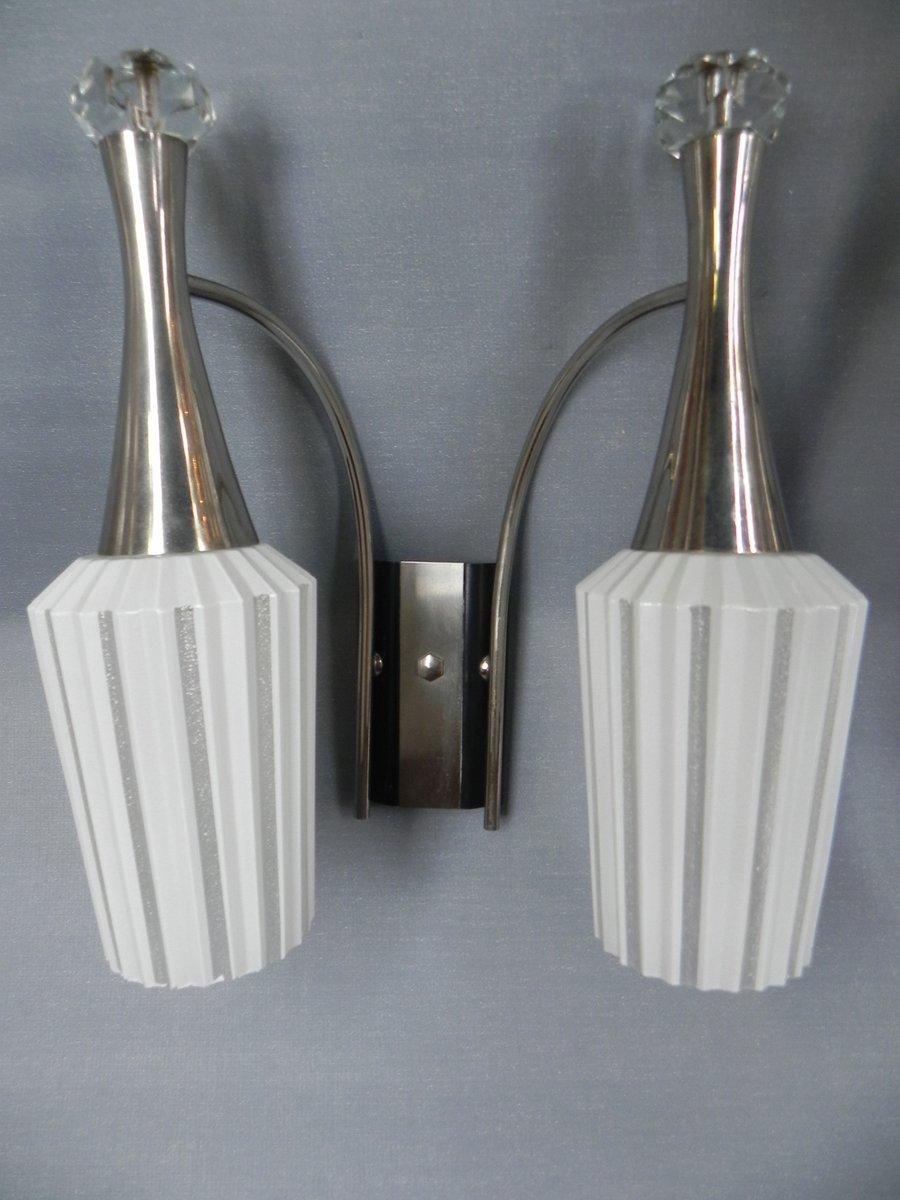 Vintage Wandlampen mit Glasschirmen, 1960er, 2er Set