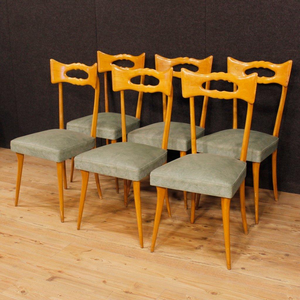 Vintage Italian Beech Chairs, Set Of 6