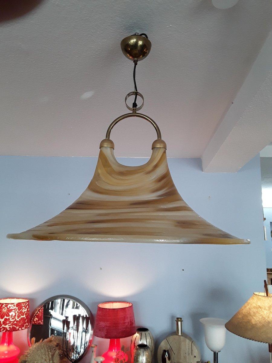 Trichterförmige Deckenlampe aus Fiberglas mit doppelter Öffnung, 1970e...