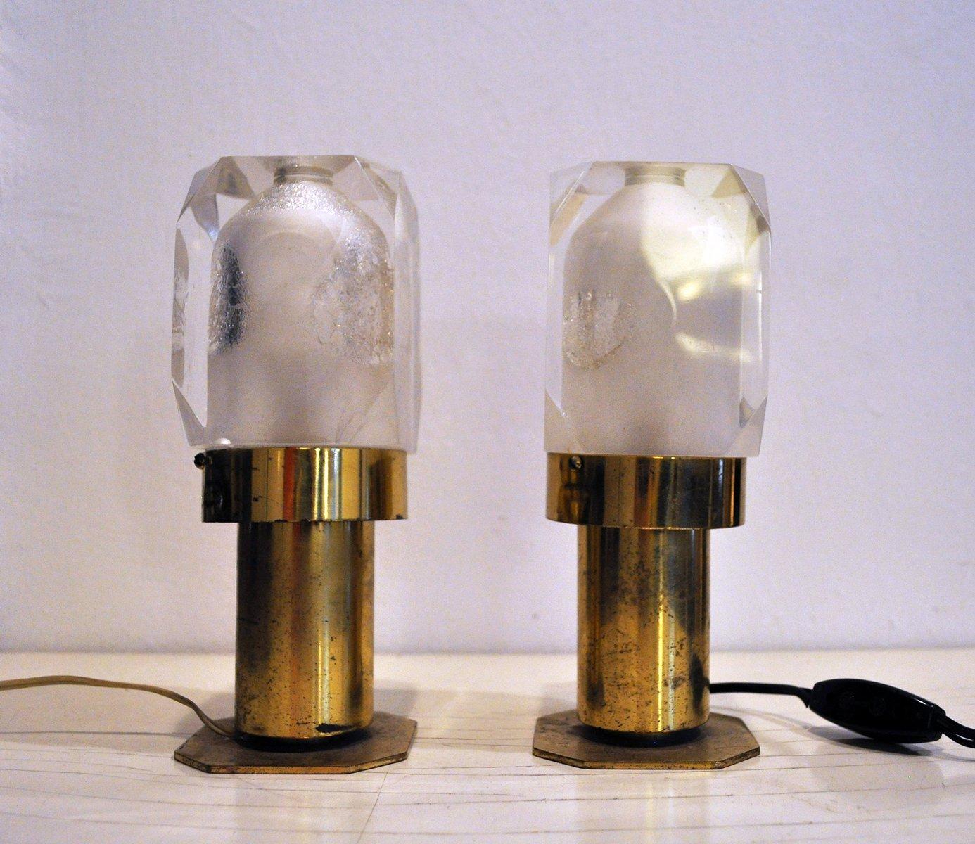 Italienische Lampen aus Messing & Plexiglas, 1970er, 2er Set