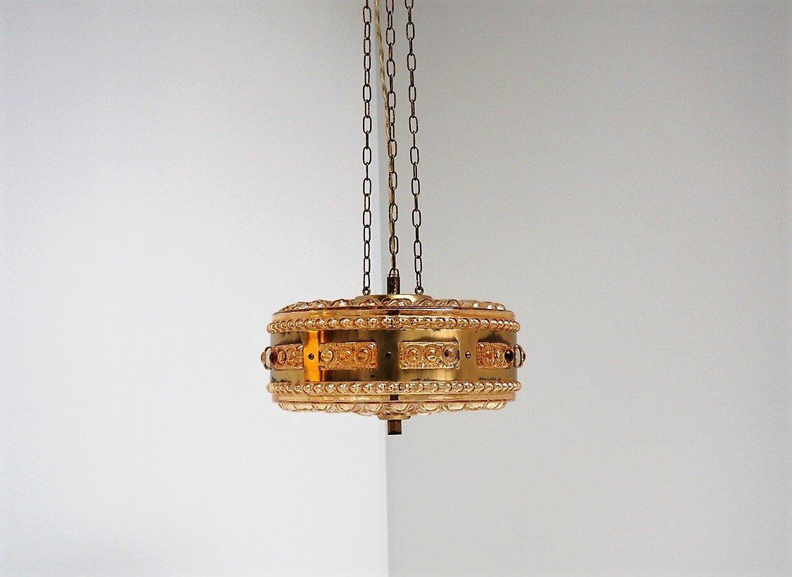 Bernsteinfarbene Modell 4912 Glaslampe von Vitrika, 1960er