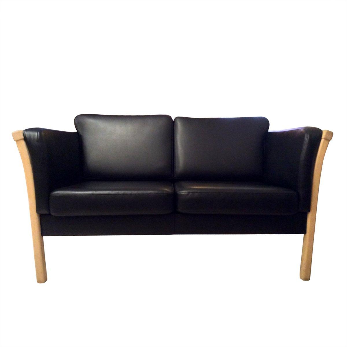 Schwedisches 2-Sitzer Sofa aus Buche und Leder, 1970er