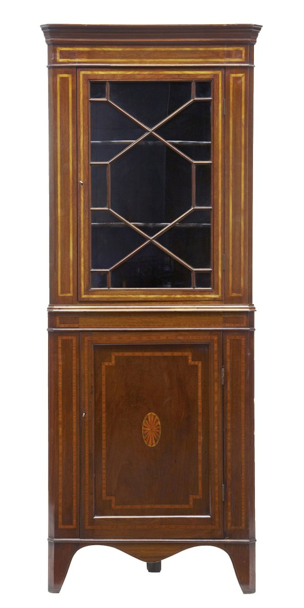 Antique Mahogany Inlaid Corner Cabinet - Antique Mahogany Inlaid Corner Cabinet For Sale At Pamono