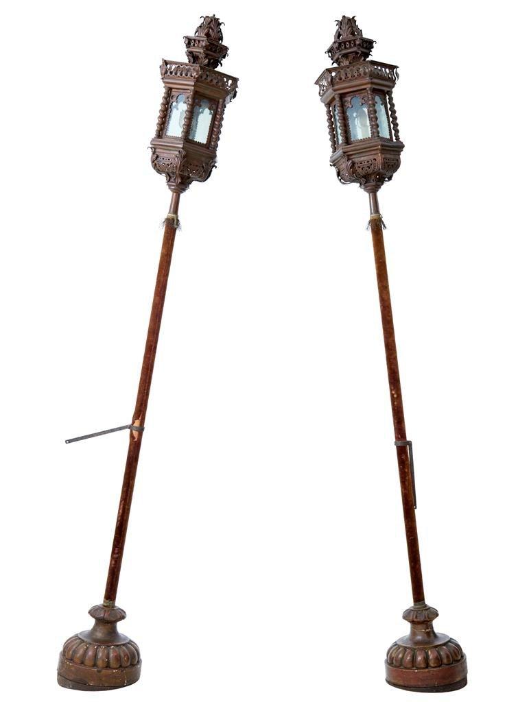 Venezianische vintage lampen auf s ulen aus kupfer 2er for Vintage lampen