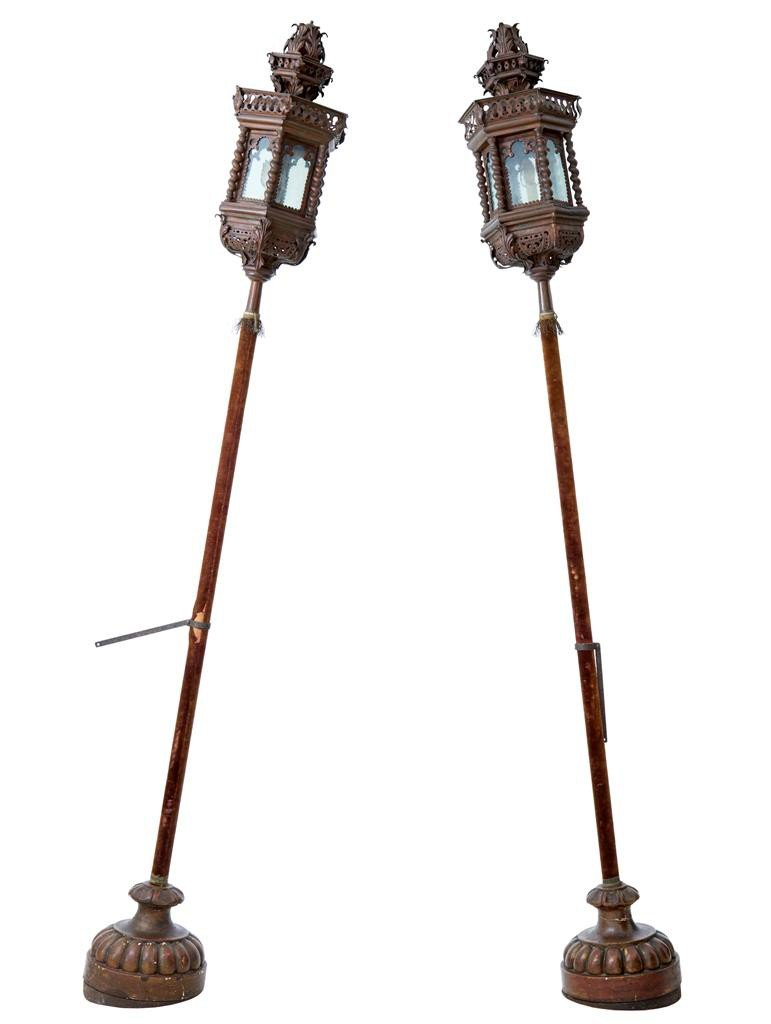 venezianische vintage lampen auf s ulen aus kupfer 2er. Black Bedroom Furniture Sets. Home Design Ideas