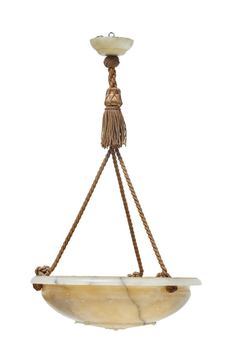 Hängende Art Deco Deckenlampe aus Alabaster