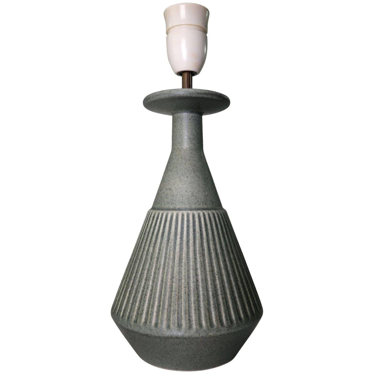 Handgemachte dänische Lampe aus Steingut in Salbeigrün von Soholm, 196...