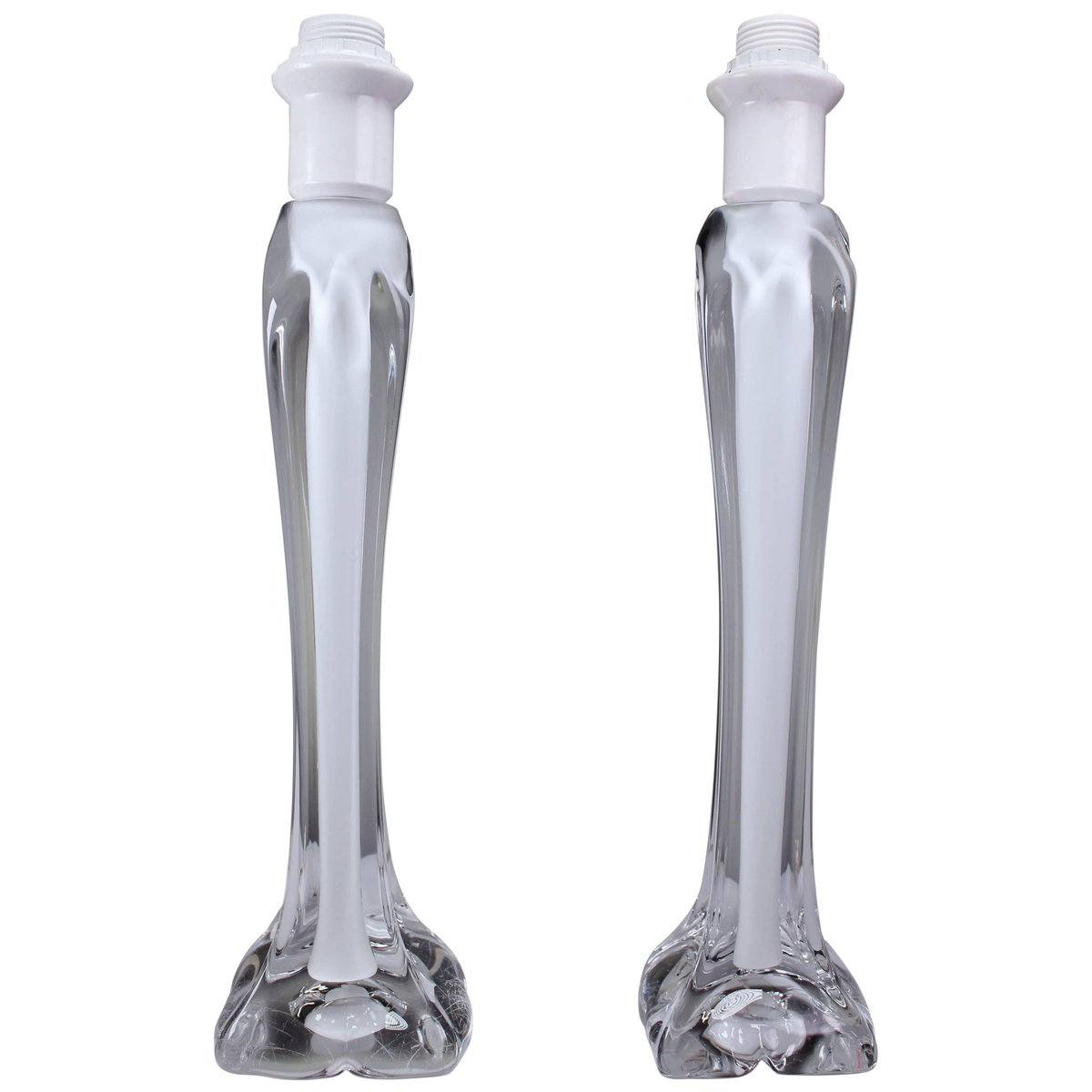 Sommerso Tischlampen aus weißem und klarem Kristallglas von Paul Kedel...