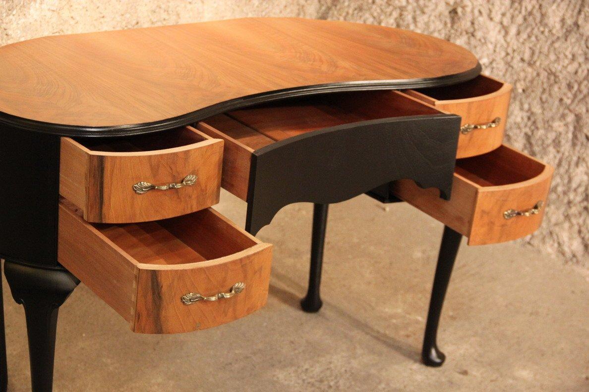 bohnenf rmiger sekret r aus schwarzem holz nussholz 1950er bei pamono kaufen. Black Bedroom Furniture Sets. Home Design Ideas