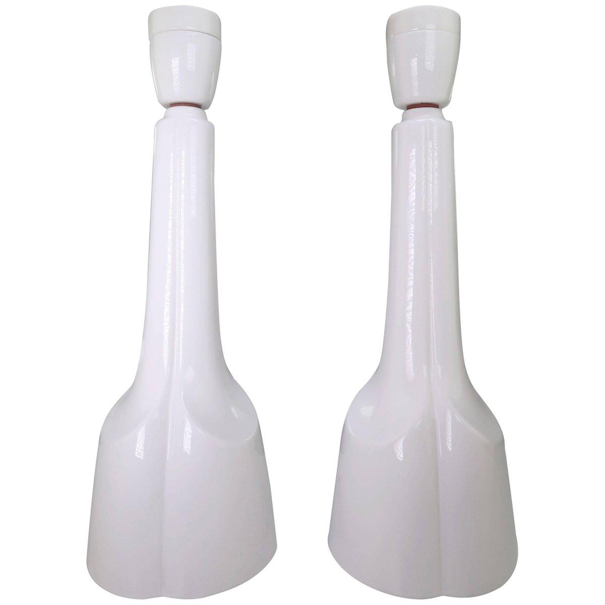 Plastische weiße Tischlampen aus Porzellan von Søholm Stentøj, 1960er,...