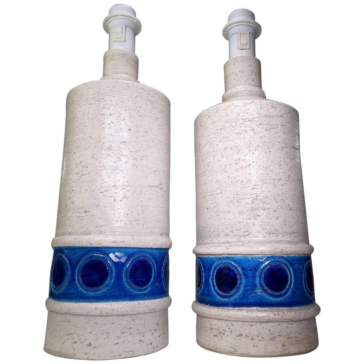 Modelle B4/35 Tischlampen aus Keramik in Weiß & Blau von Aldo Londi fü...