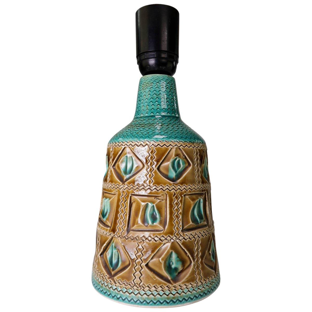 Italienische Tischlampe aus Keramik in Türkis & Karamel von Bitossi, 1...
