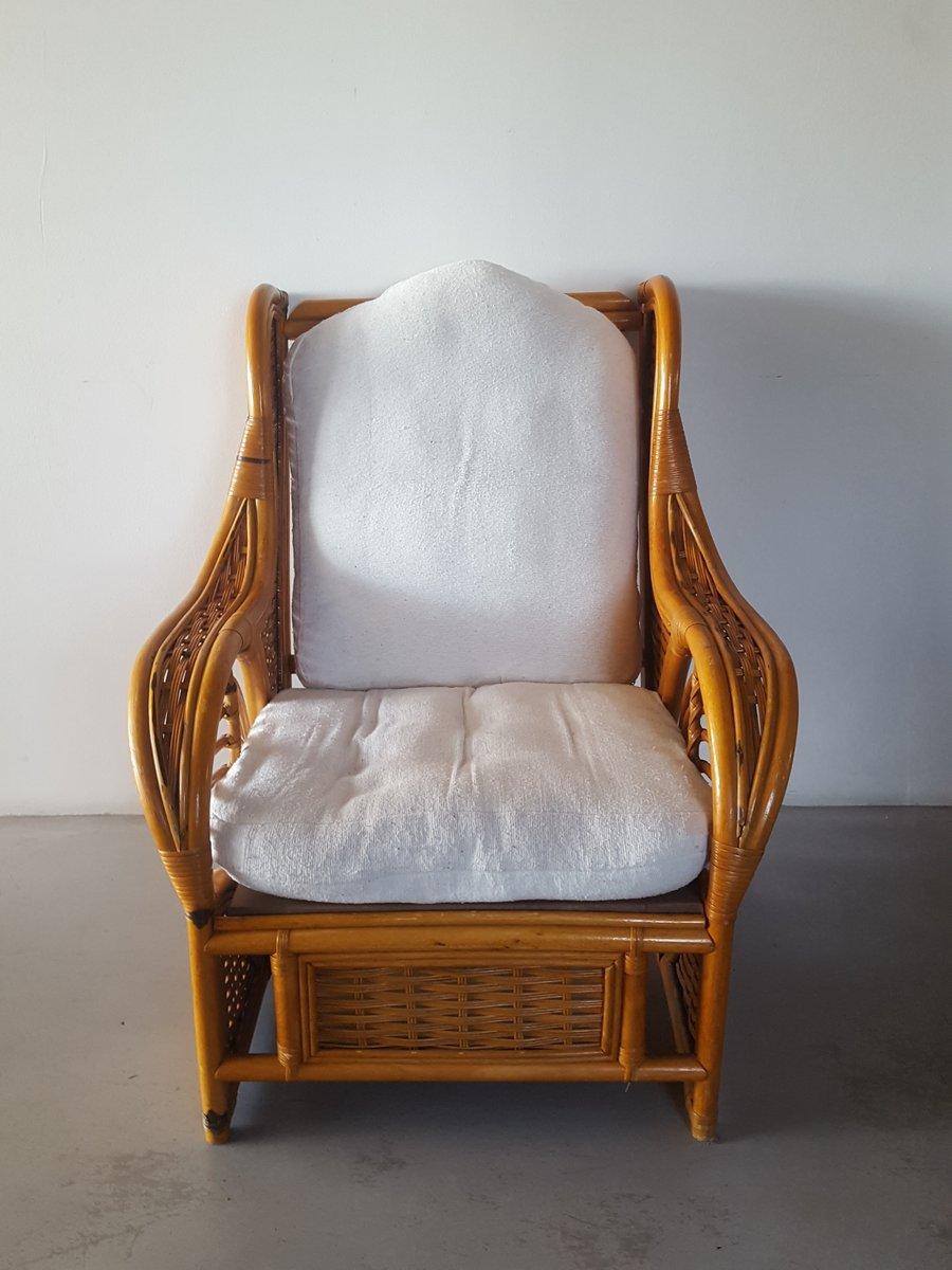 Große Rattan Armlehnstuhl, 1980er