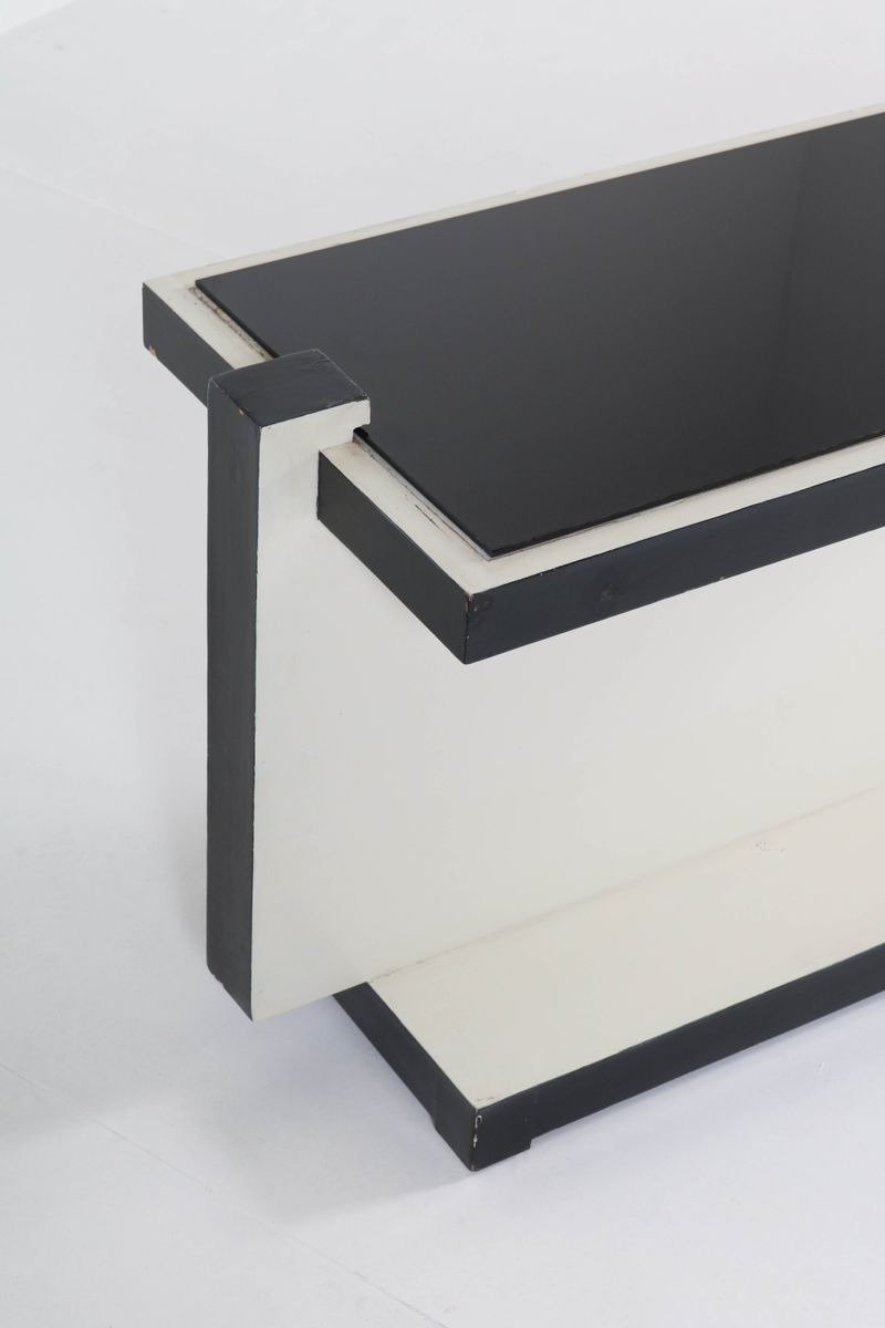 French art deco black and white lacquered coffee table 1930s