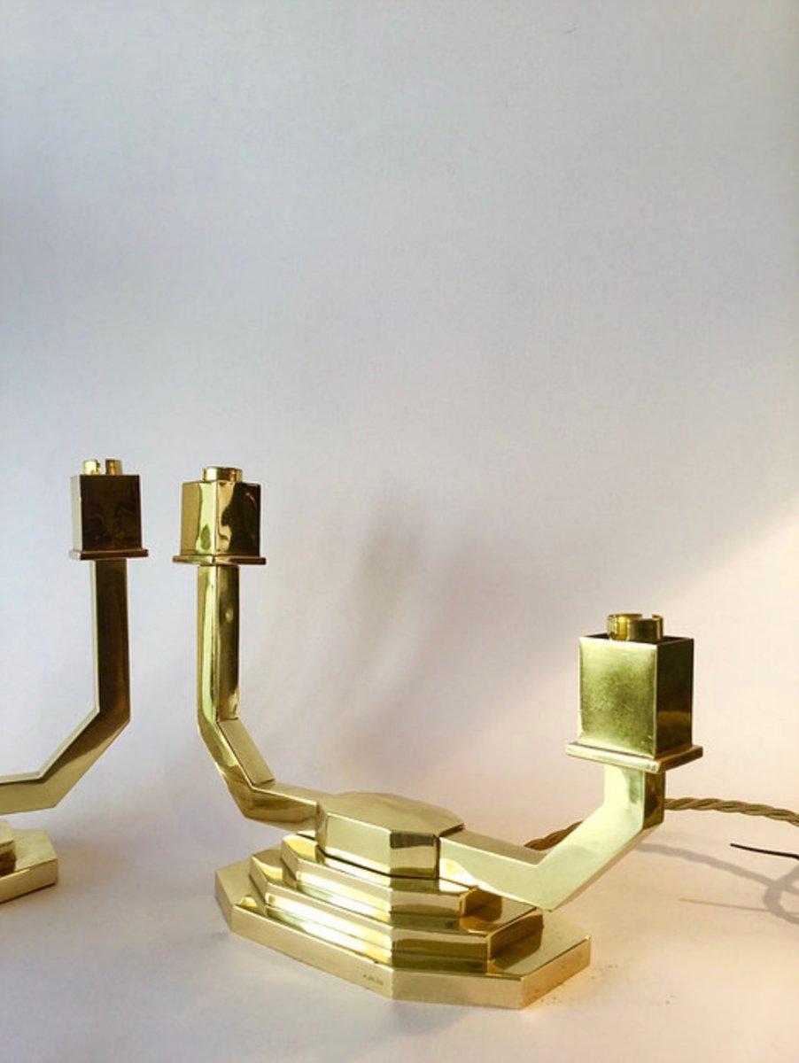 Vintage Tischlampen aus Messing von A. Petit, 2er Set