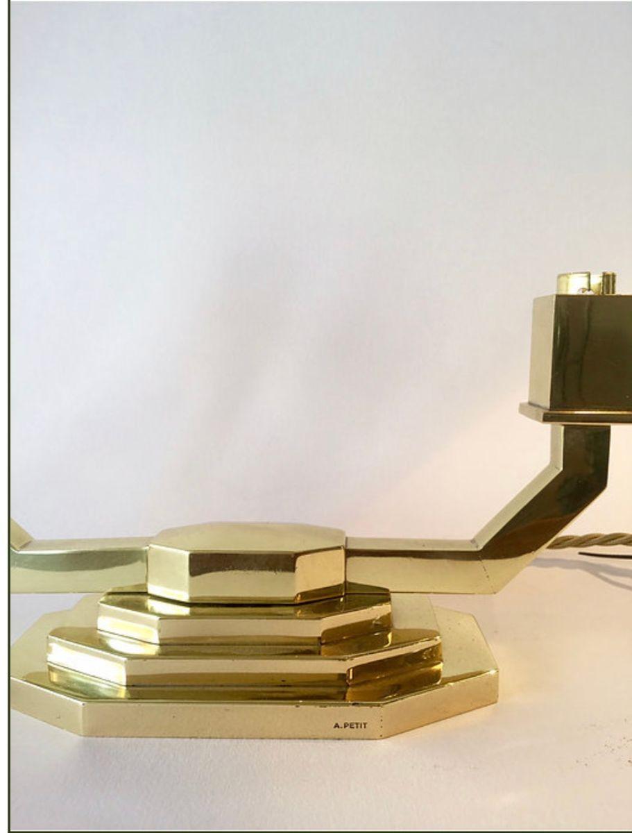 Vintage tischlampen aus messing von a petit 2er set bei for Tischlampen vintage