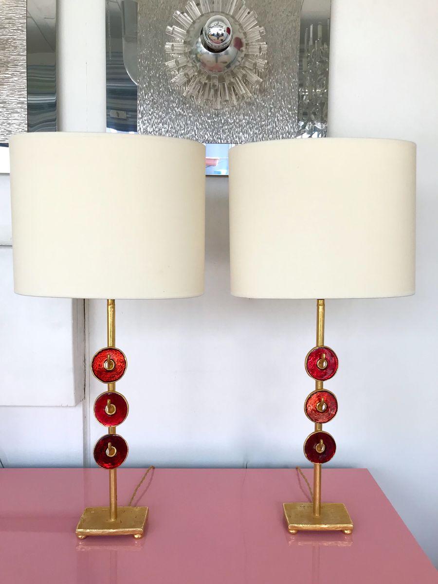 Emaillierte französische Lampen aus Bronze von Nicolas Dewael für Fond...