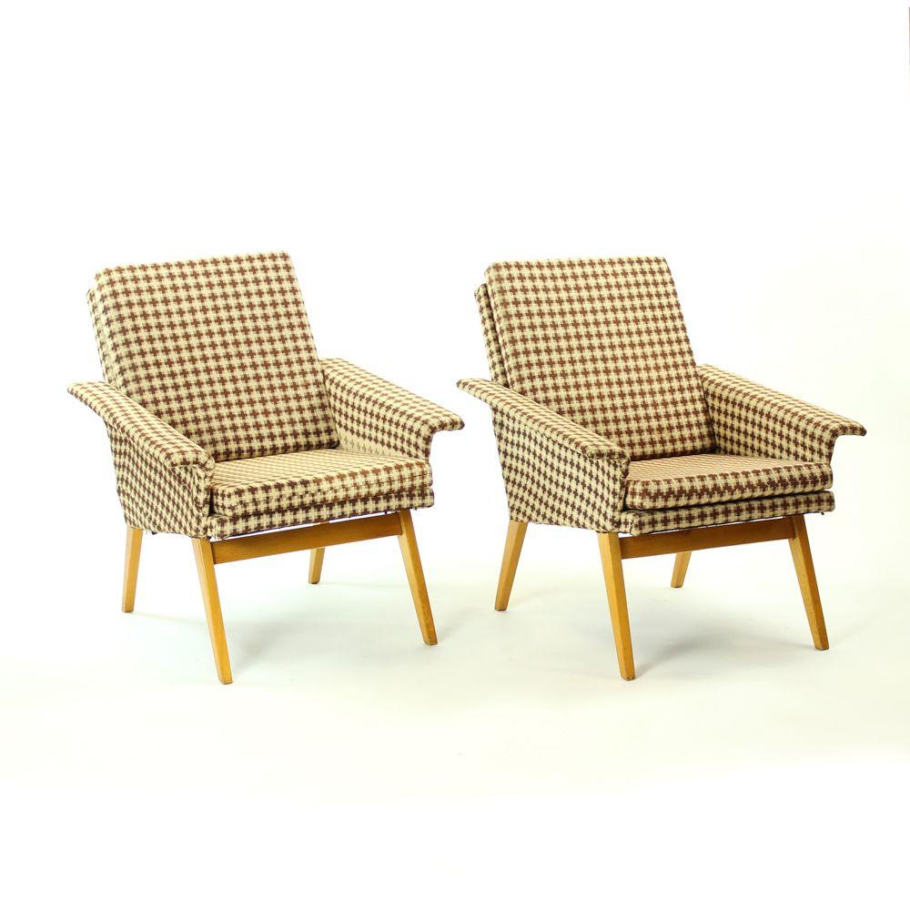 Braune Sessel von Jitona, 1960er, 2er Set