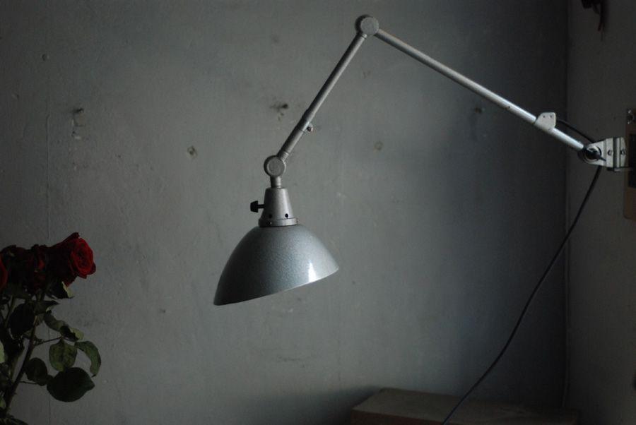 Gehämmerte graue Vintage Wandlampe von Curt Fischer für Midgard
