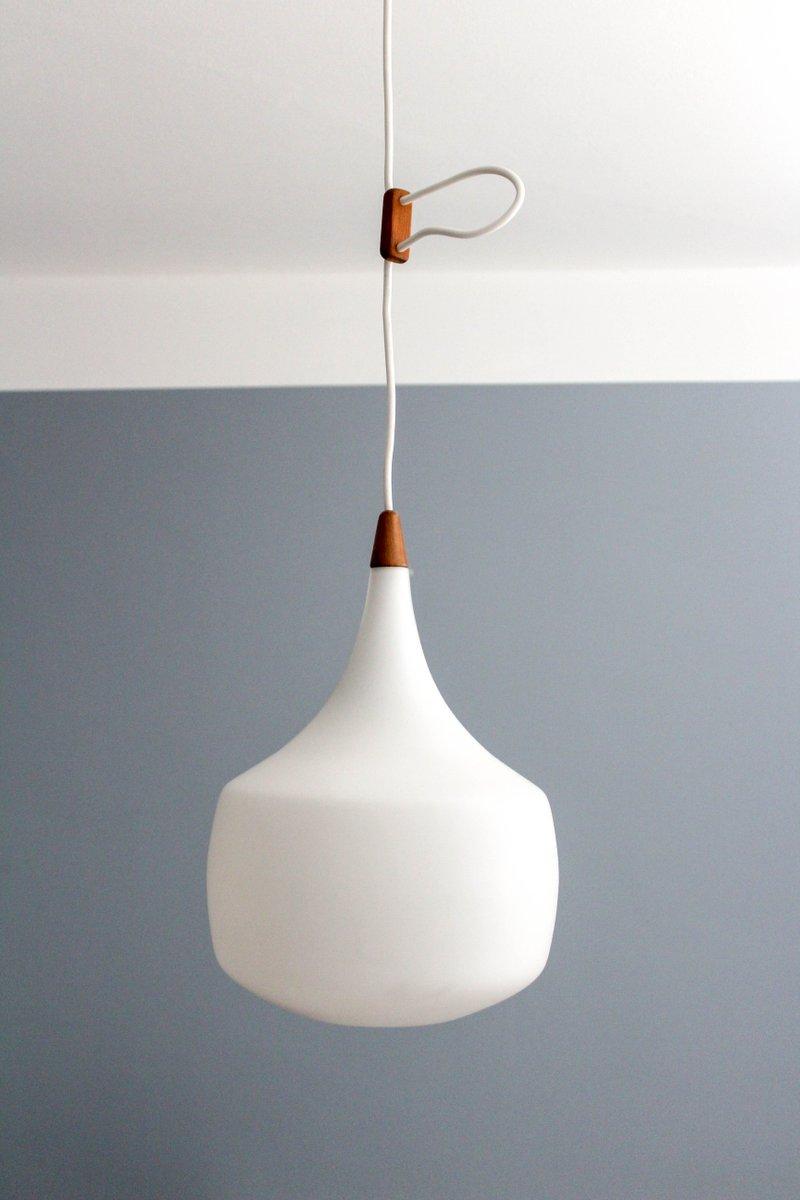 Mid-Century Lampe aus Teak & Opalglas von Uno & Östen Kristiansson für...