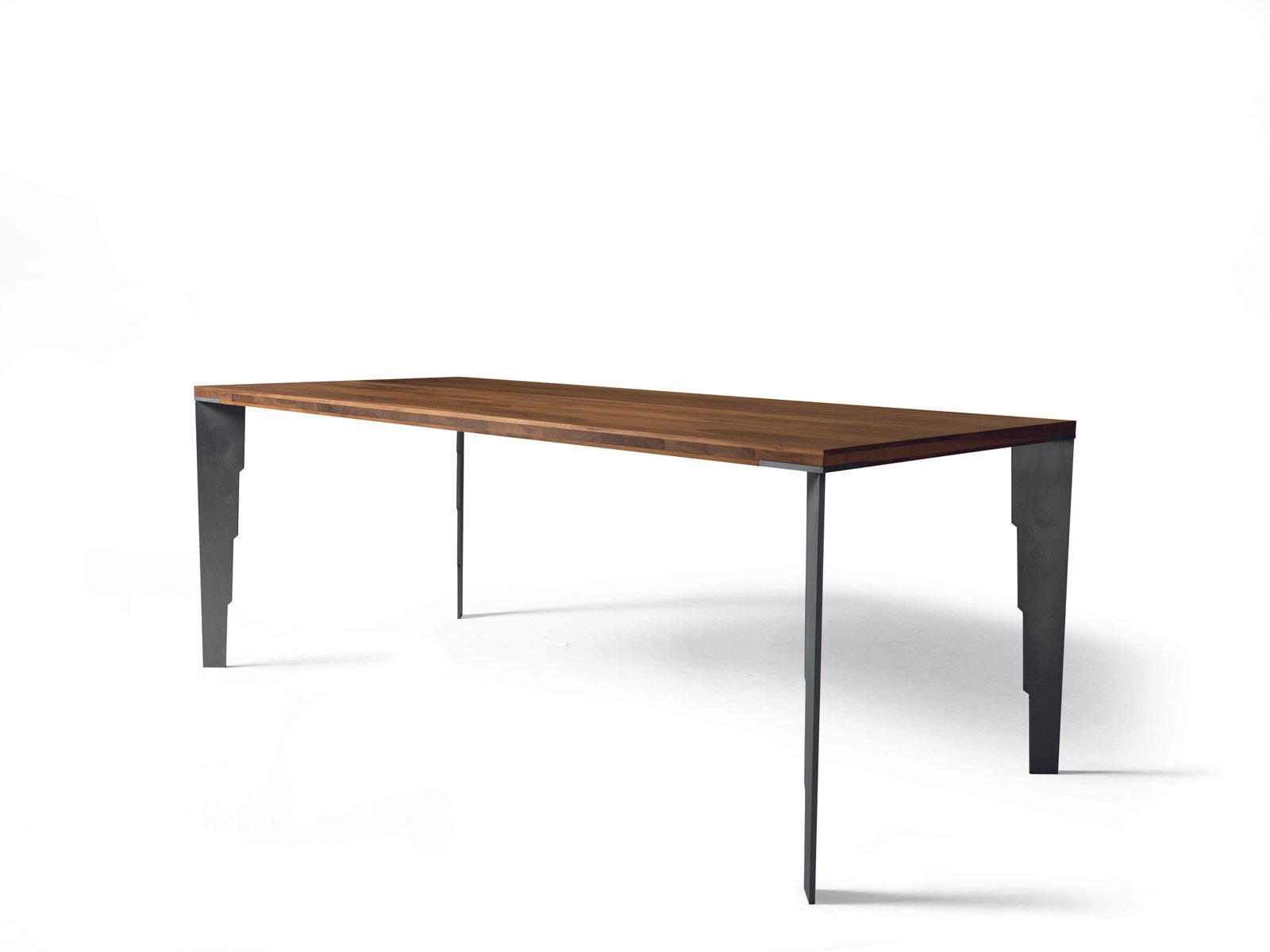 Small oiled natural walnut fixed table with steel effect metal legs from dale italia