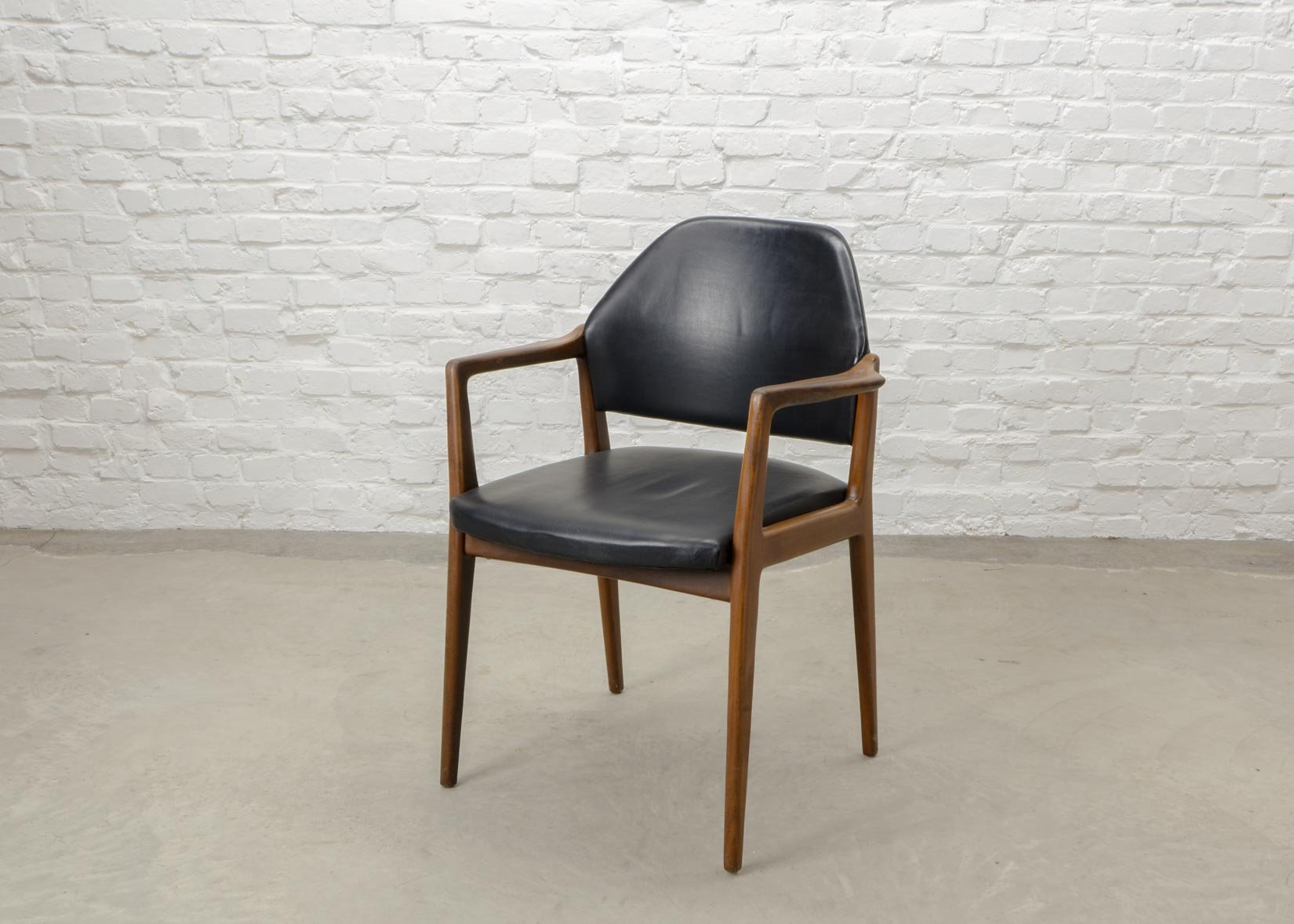 Mid Century Scandinavian Teak U0026 Leather Desk Chair, 1960s