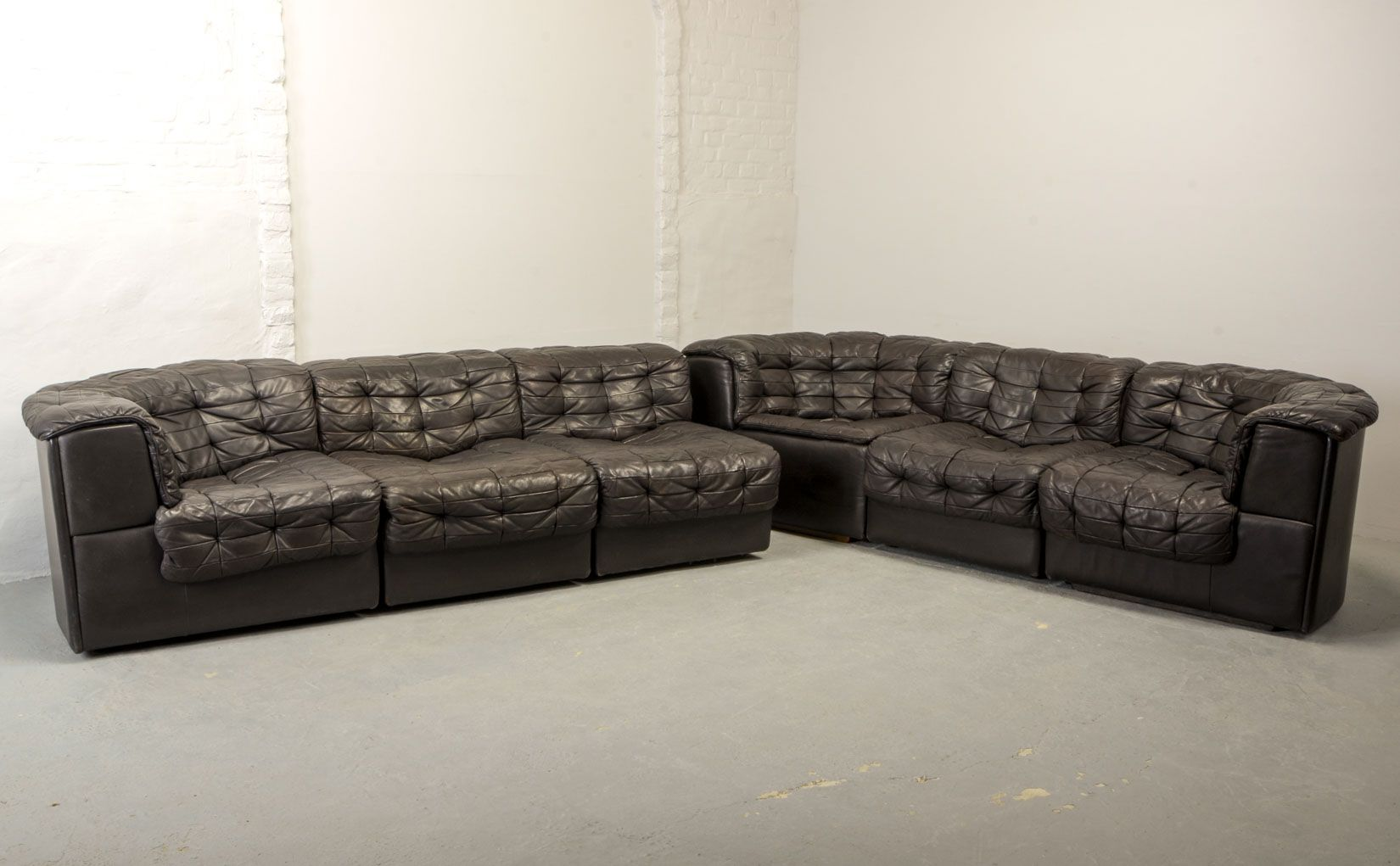 - Mid-Century DS11 Modular Patched Leather Sofa From De Sede, 1970s