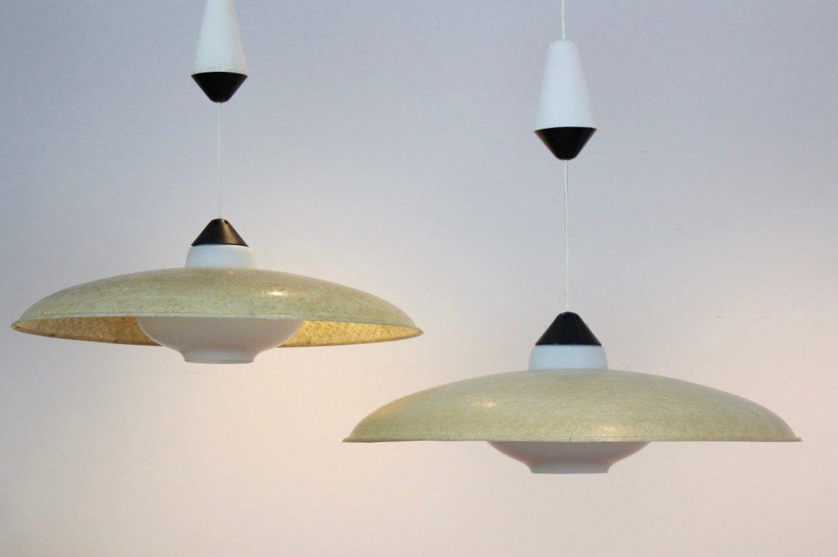 Hängelampen aus Glasfaser & Opalglas von Louis Kalff für Philips, 1950...