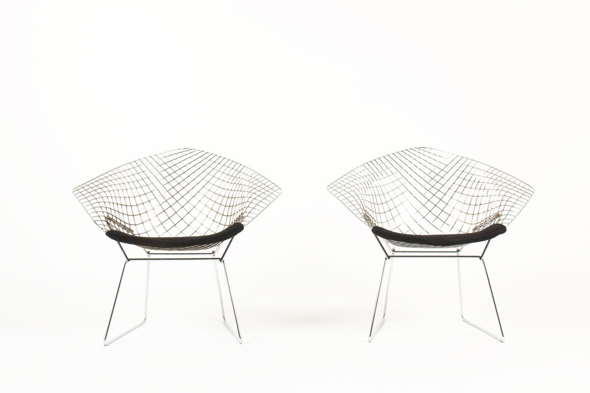Diamond Armchairs by Harry Bertoia for Knoll International, 1950s, Set...