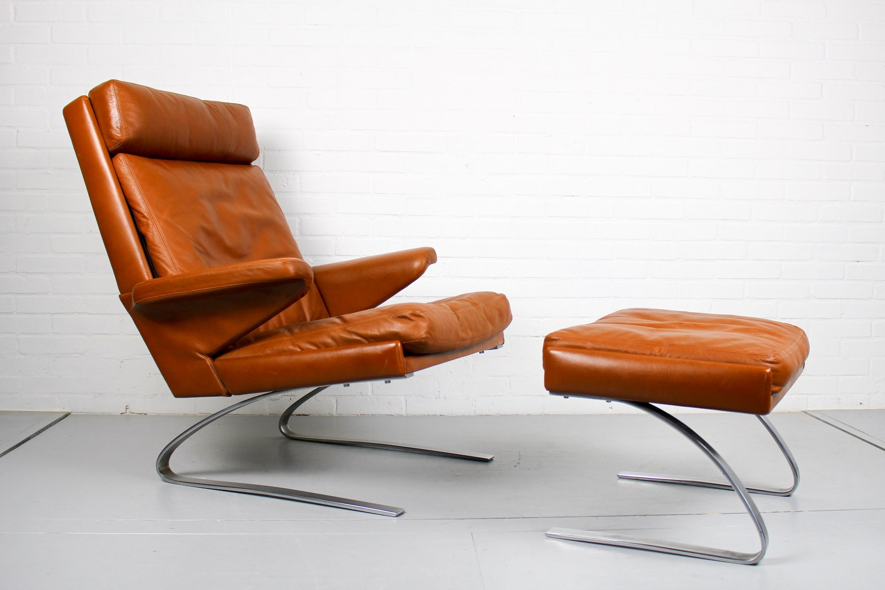Leather Lounge Chair with Ottoman by Reinhold Adolf for Cor, 1960s