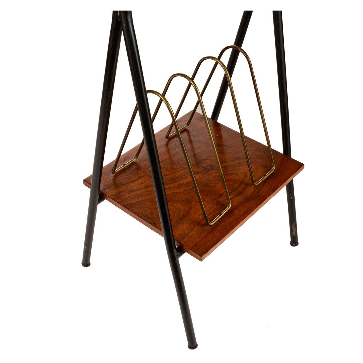 zeitschriftenst nder tisch aus holz metall 1960er bei. Black Bedroom Furniture Sets. Home Design Ideas