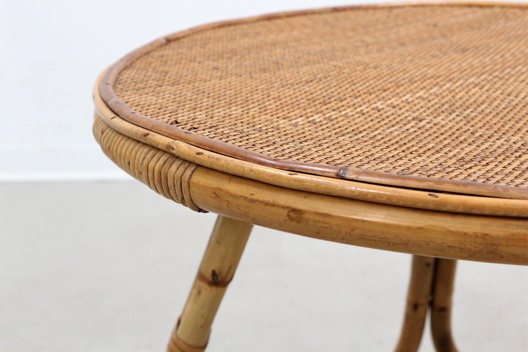 Mid century italian round rattan coffee table from pierantonio bonacina 1950s