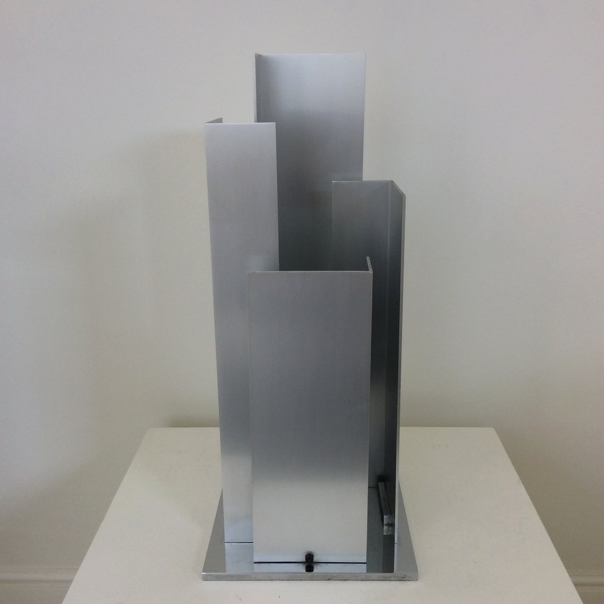 Sculptural Aluminium and Chromed Steel Table Lamp from New Lamp Italy,...