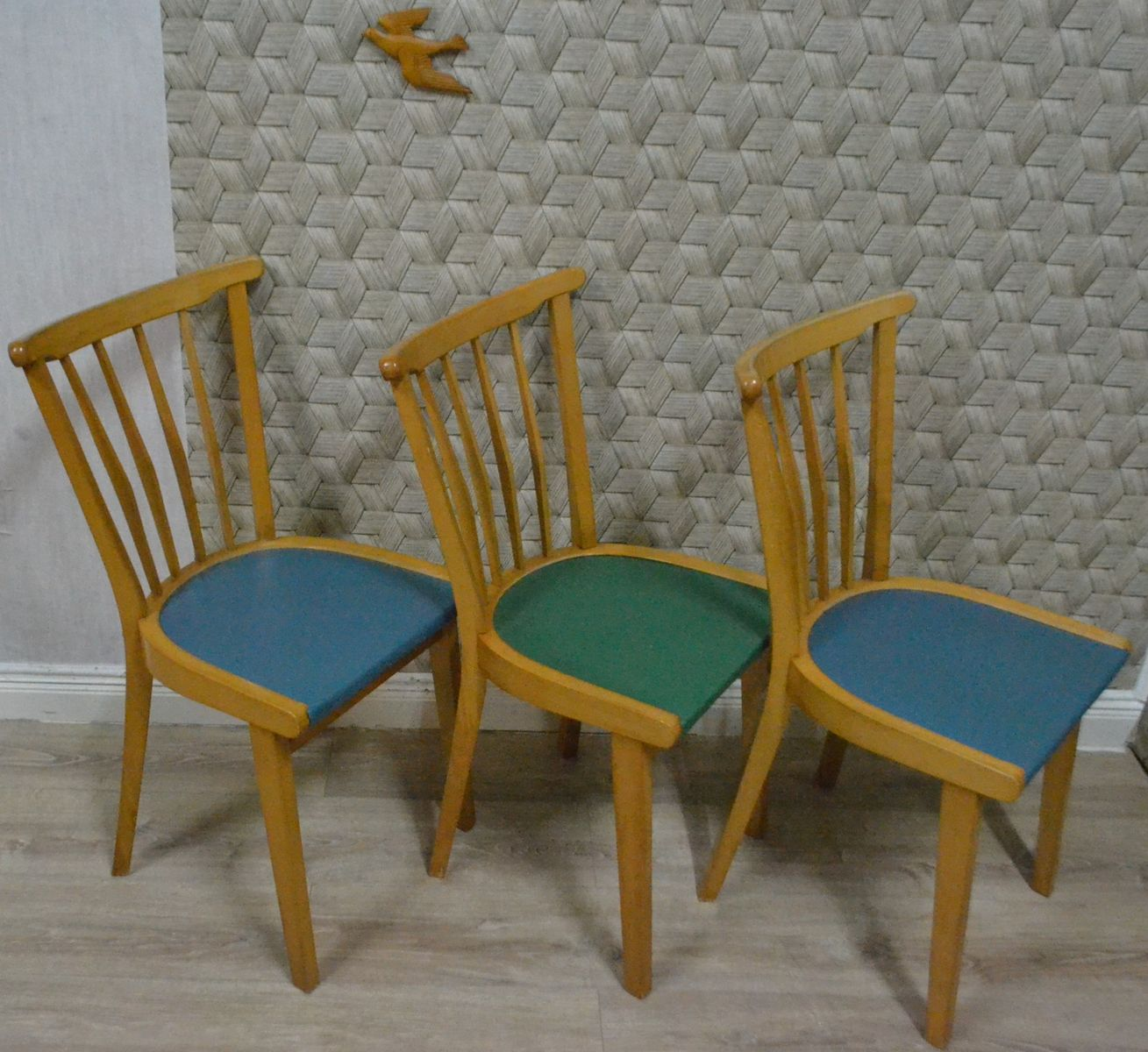 wooden kitchen chairs 1950s set of 3 for sale at pamono. Black Bedroom Furniture Sets. Home Design Ideas