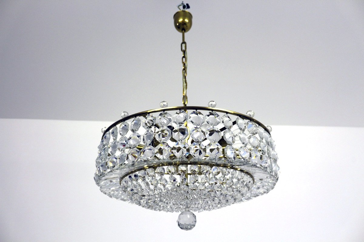 Wiener Vintage Kronleuchter aus Swarovski Kristallglas