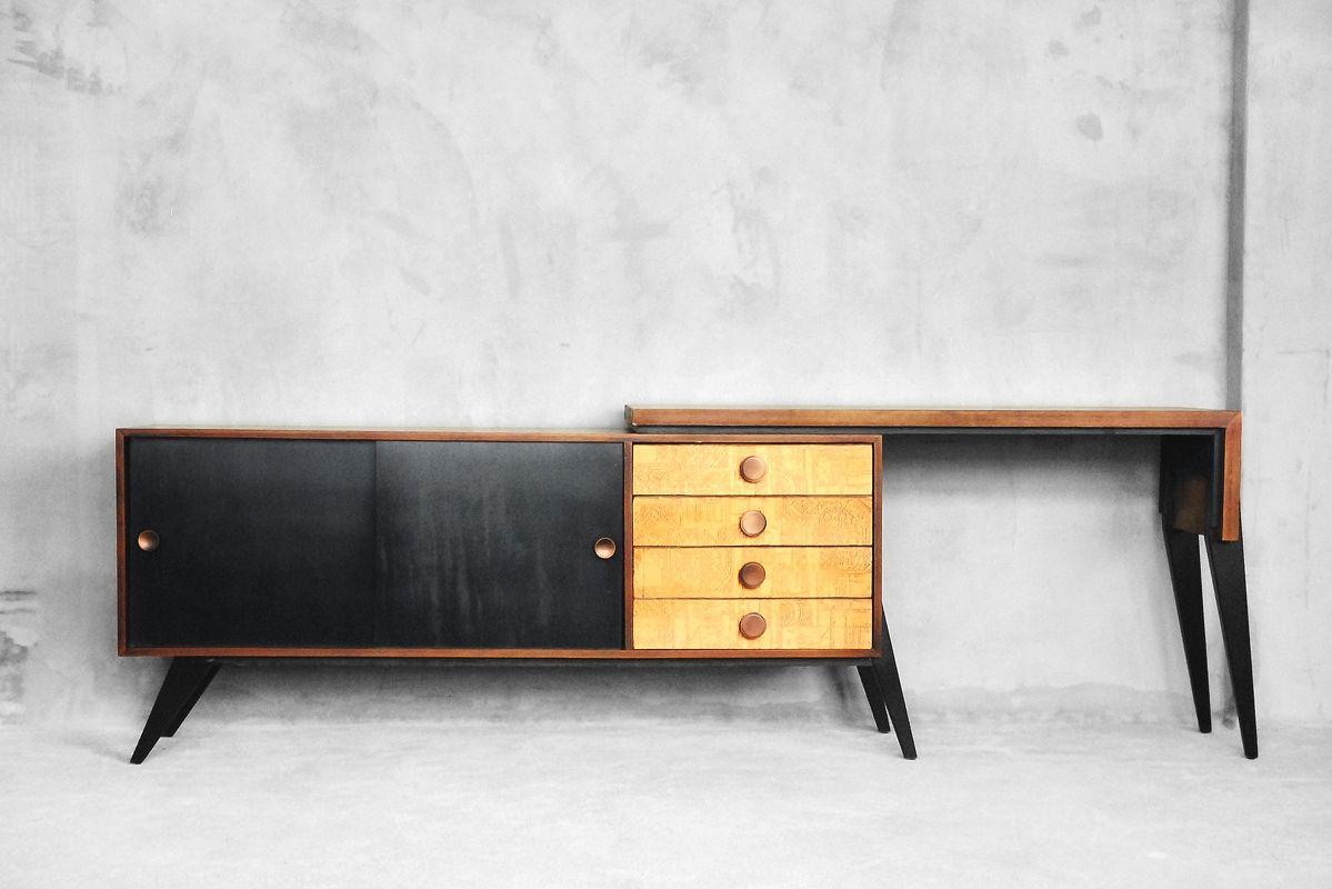Sideboard mit bewegbarem Schreibtisch, 1950er