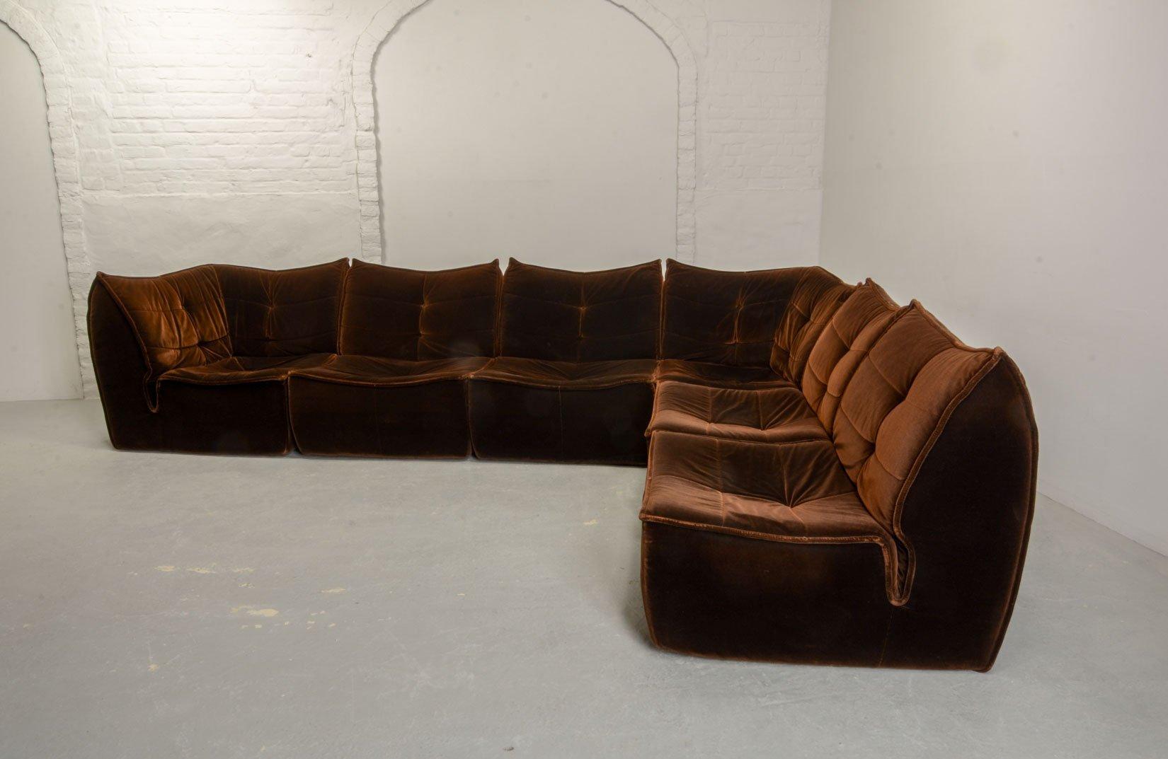 Merveilleux Mid Century Chocolate Velvet Modular Sofa, 1970s