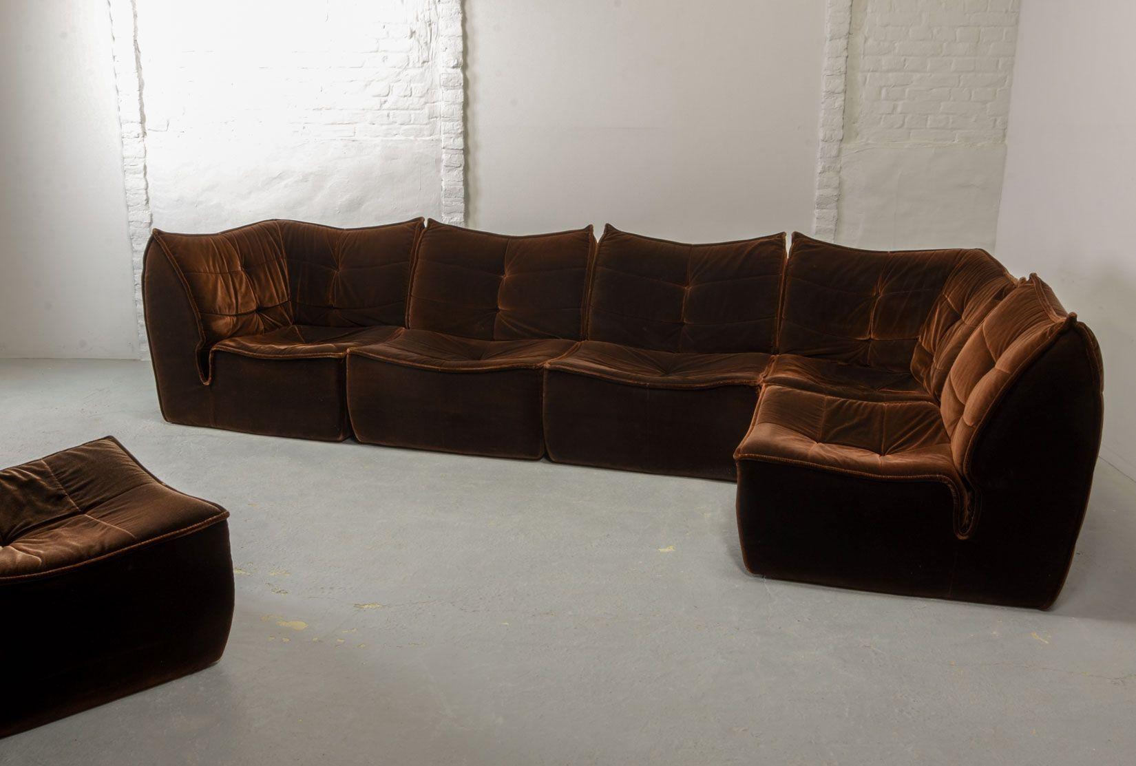 Mid Century Chocolate Velvet Modular Sofa 1970s