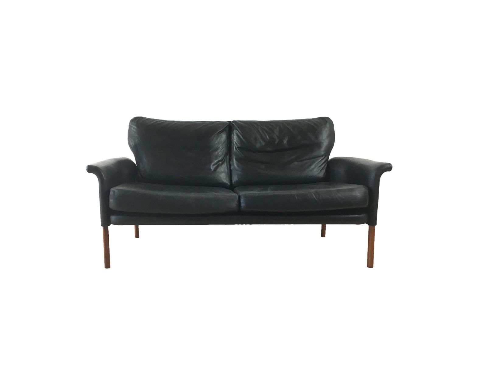 Mid Century Two Seater Leather Sofa 1960s