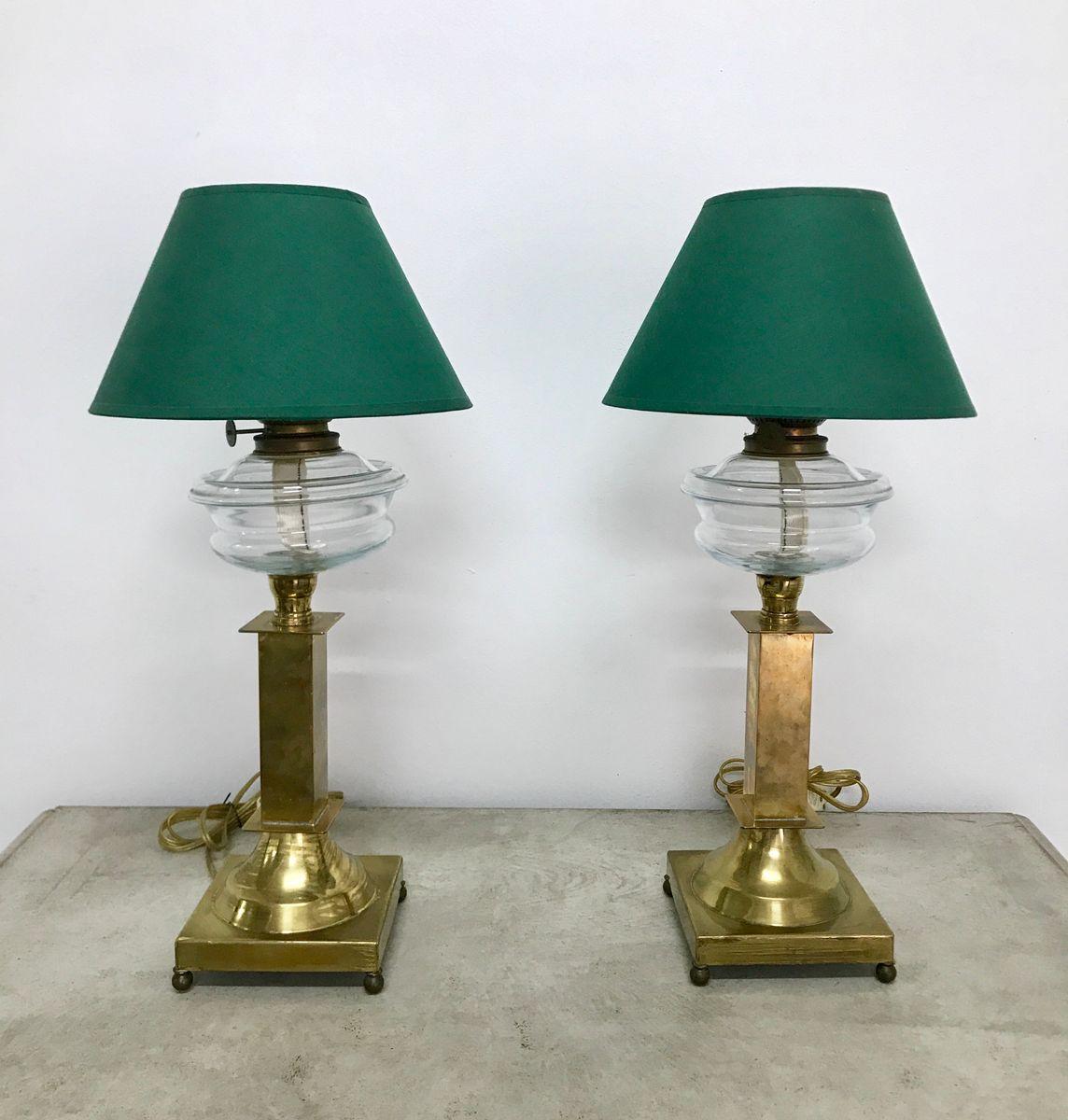 Antike Lampen aus Messing, 2er Set