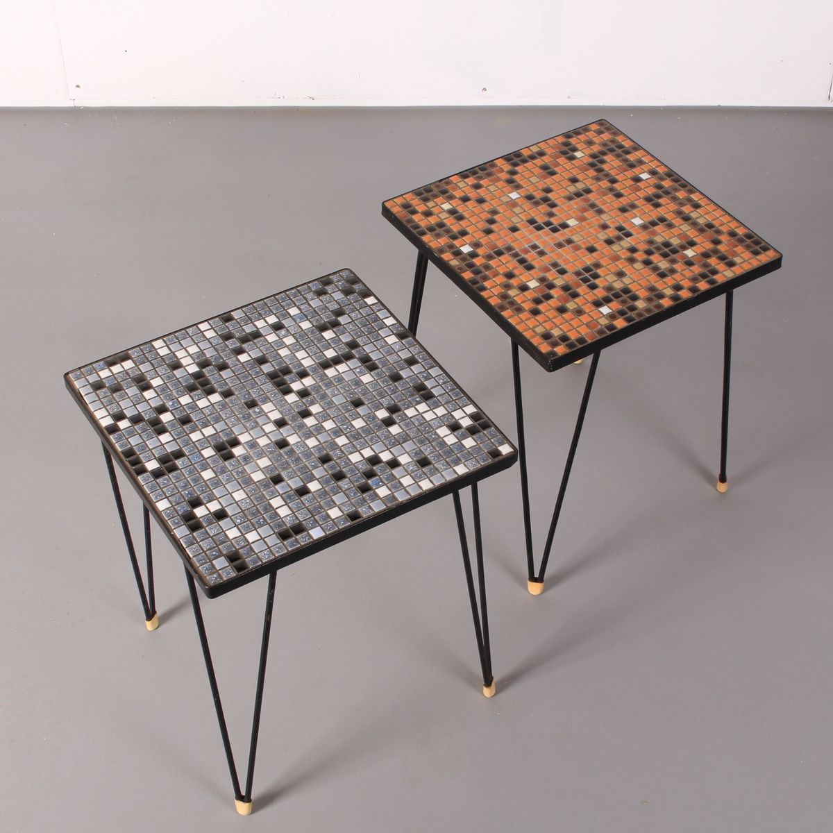 Vintage Mosaic Tiled Side Tables With Hairpin Legs, 1970s