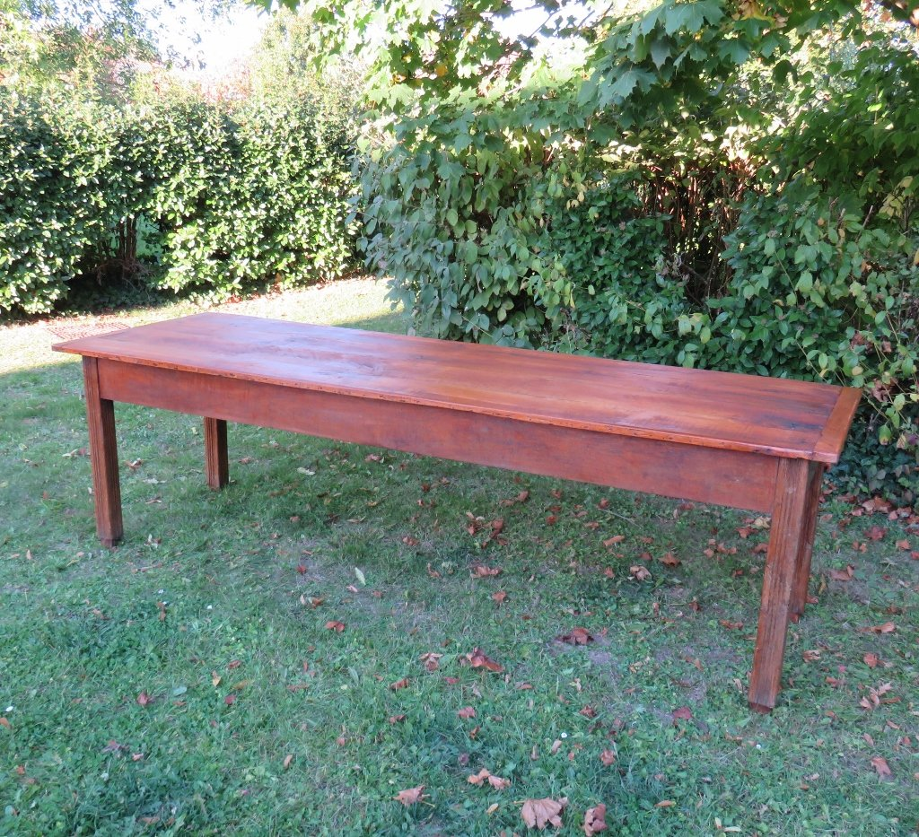 Farm Dining Table For Sale: Large Antique Oak & Cherry Wood Farmhouse Dining Table For