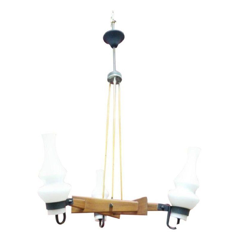Kronleuchter aus Teak & Messing mit Opalglasschirmen von Stilnovo, 196...