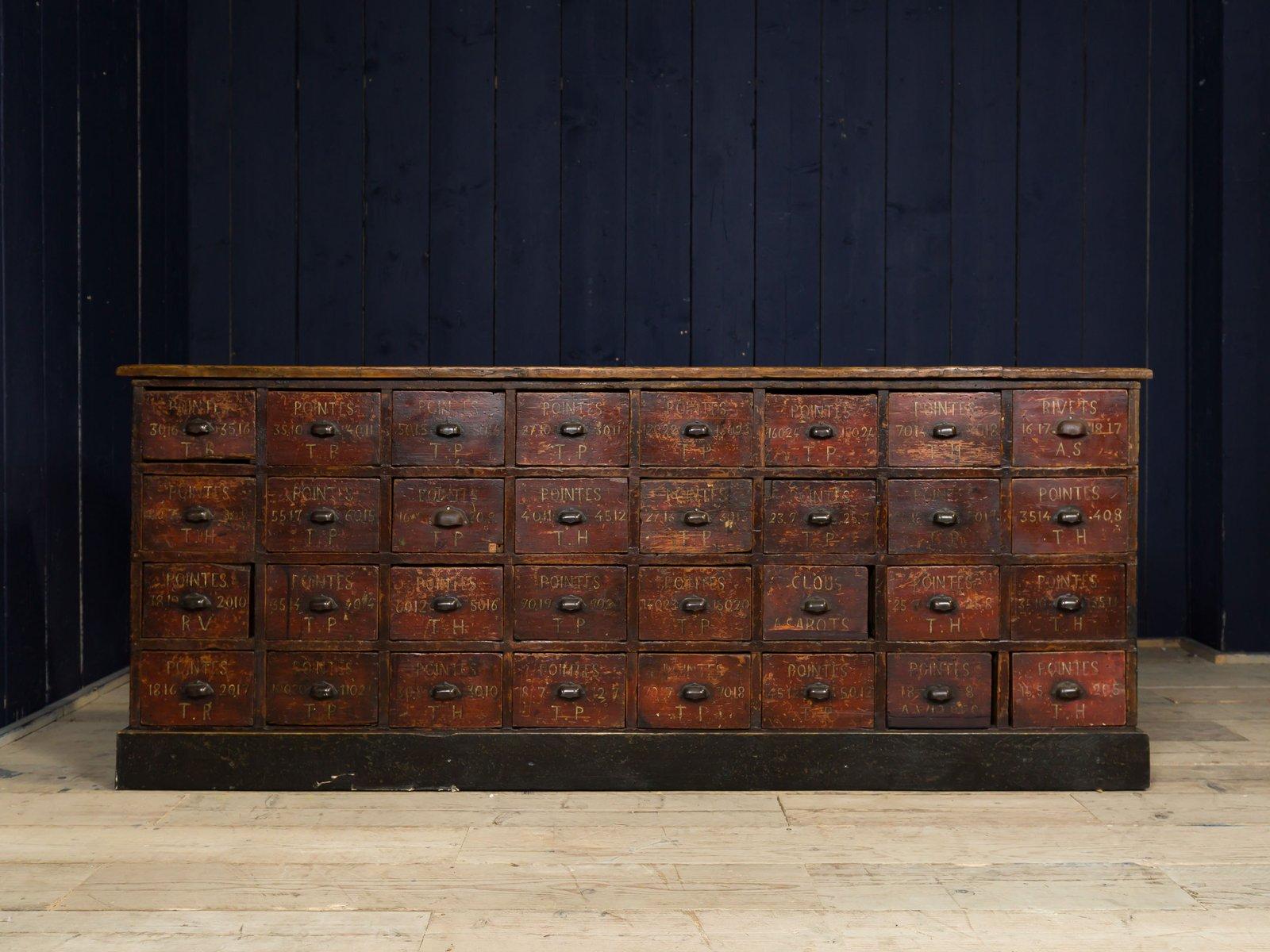 Industrieller Vintage Apothekerschrank Mit 32 Schubladen Bei Pamono