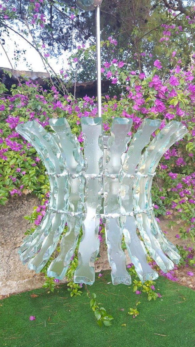 Kronleuchter aus gemeißeltem Glas von Zeroquattro für Fontana Arte, 19...