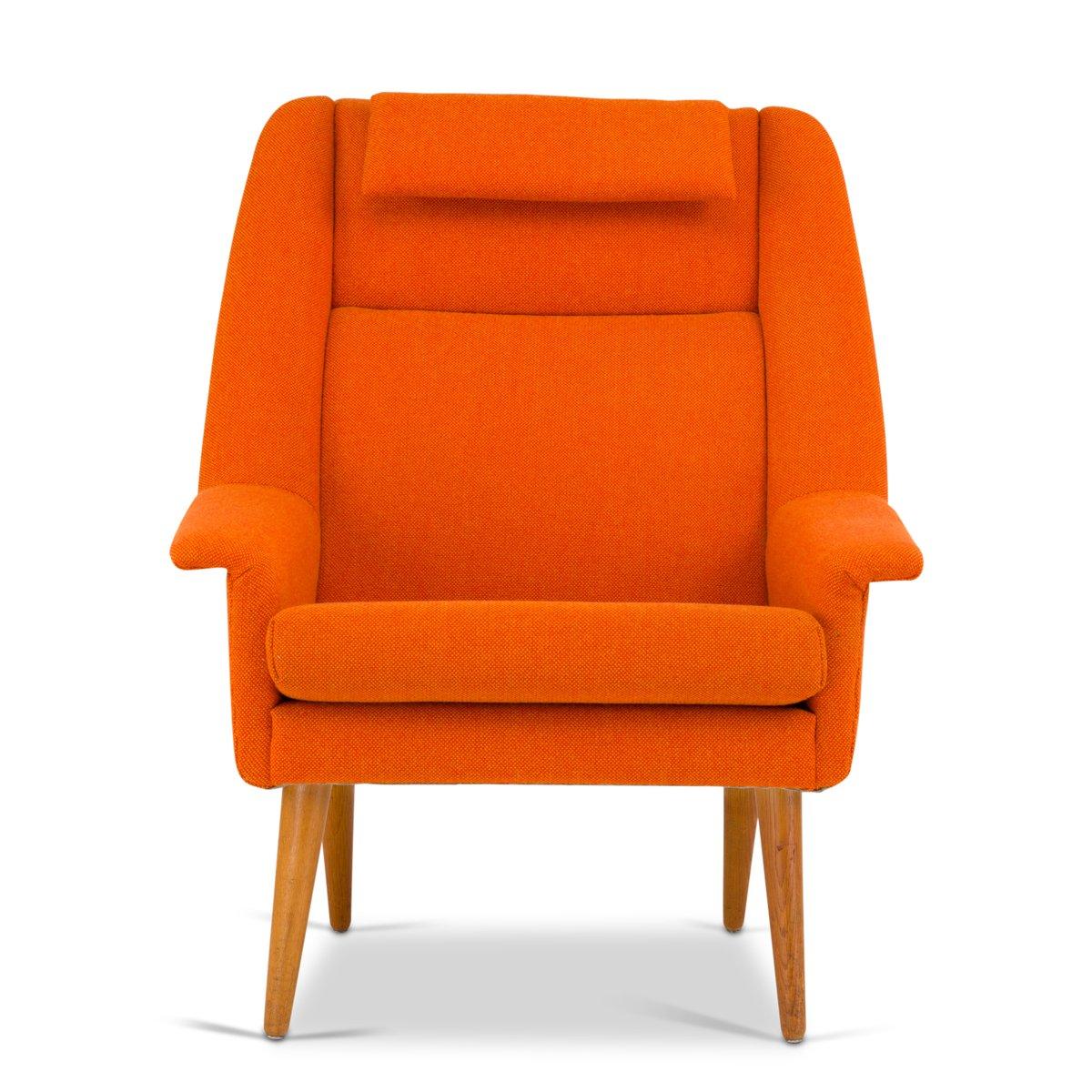 Dänischer Mid-Century Sessel in Orange von Folke Ohlsson für Fritz Han...