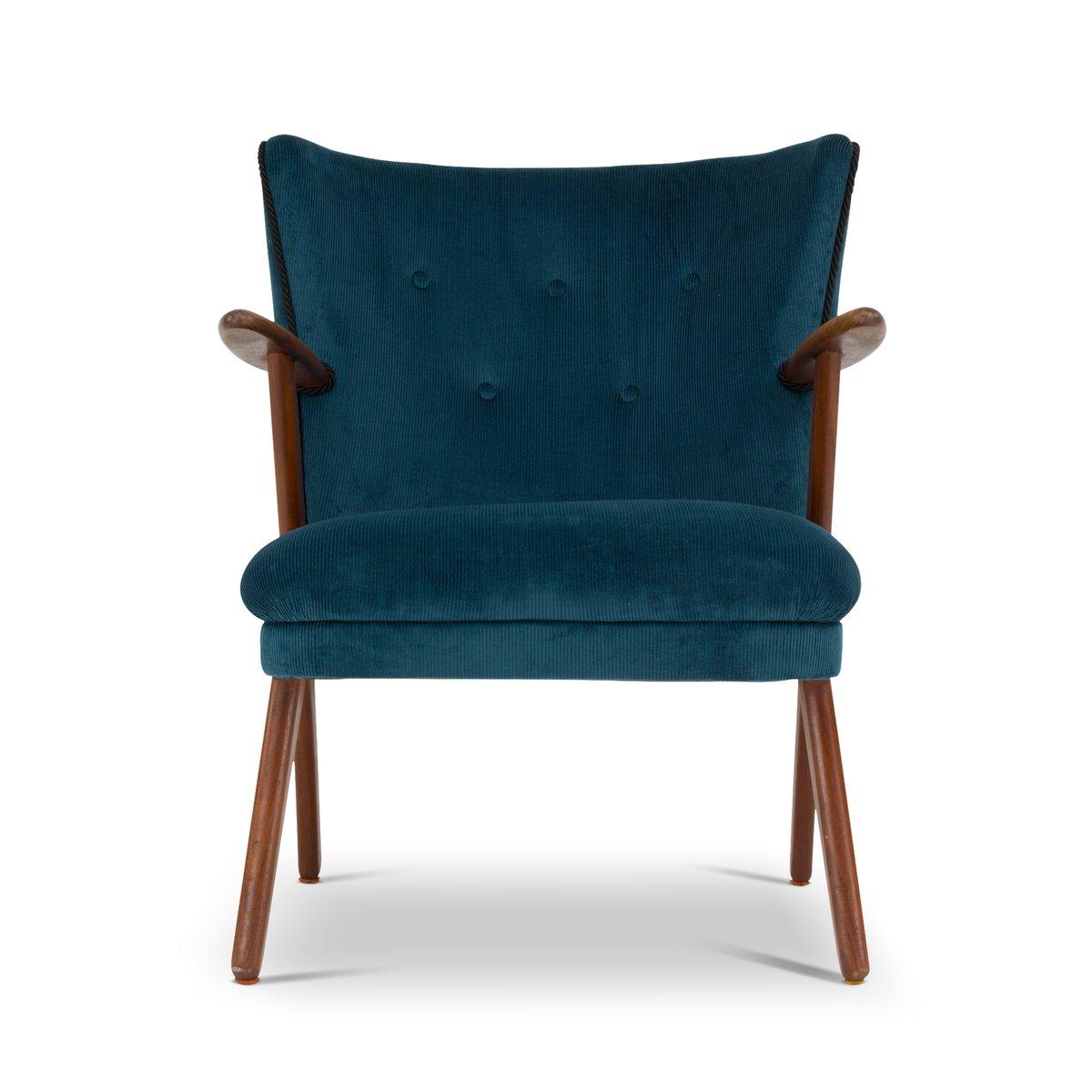 Dänischer Mid-Century Cocktail Chair in Blau & Grün, 1960er