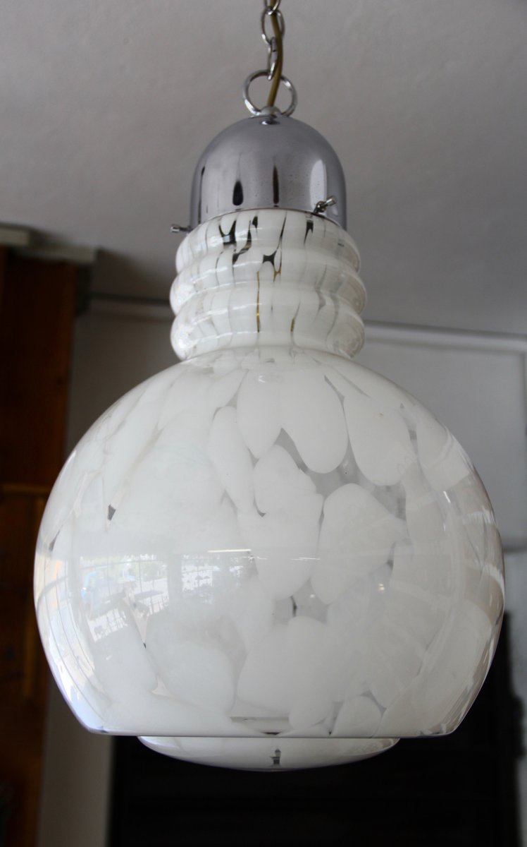 Vintage Freeblown Murano Ceiling Lamp, 1970s