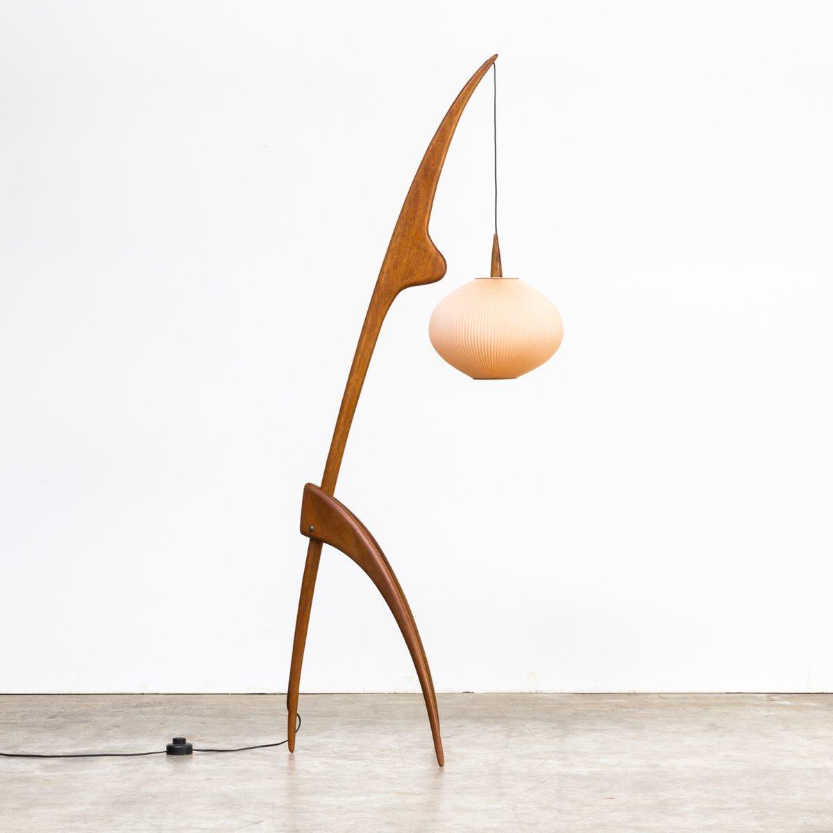 Praying Mantis Stehlampe von Jean Rispal für Rispal, 1950er
