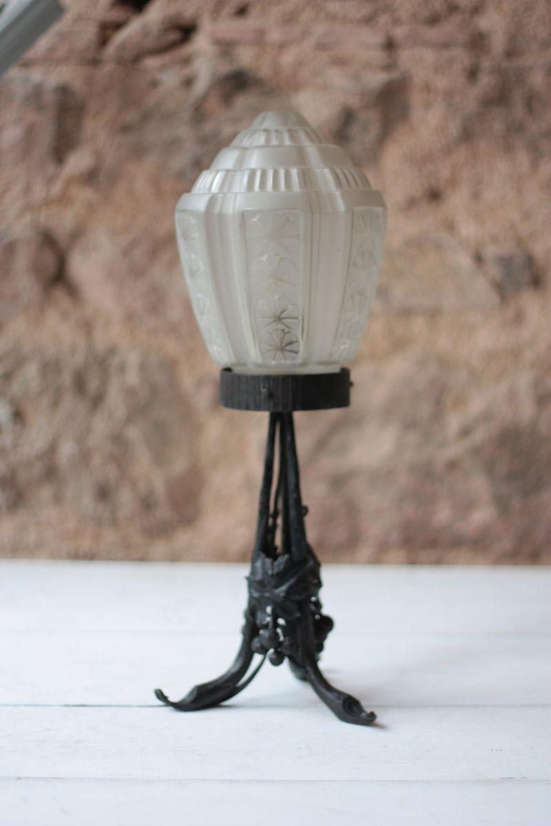 Französische Vintage Lampe aus Glas und Schmiedeeisen